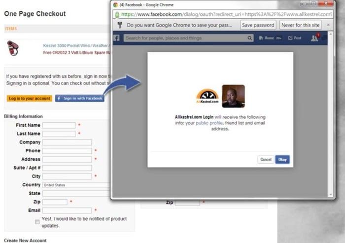 3dcart facebook login at checkout