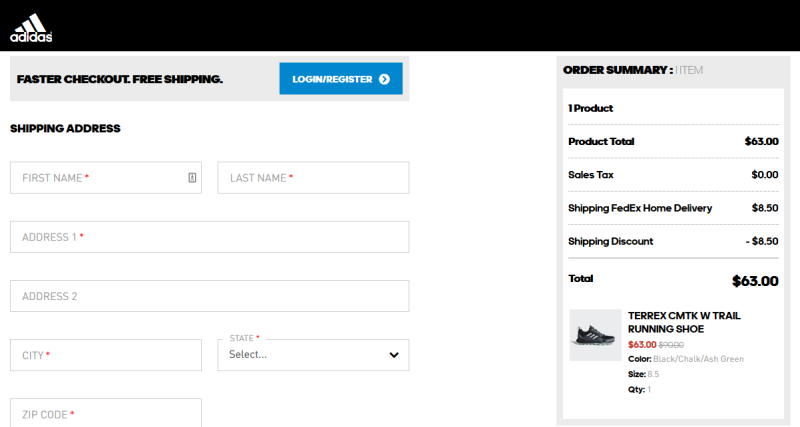 Adidas Outdoor Checkout Page 1