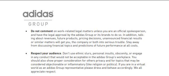 Adidas social media guidelines