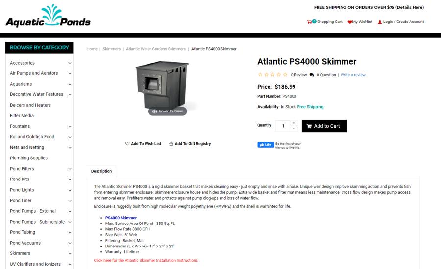 Aquatic Ponds Atlantic Skimmer Product Description
