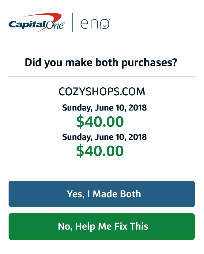 Capital One verify purchase email