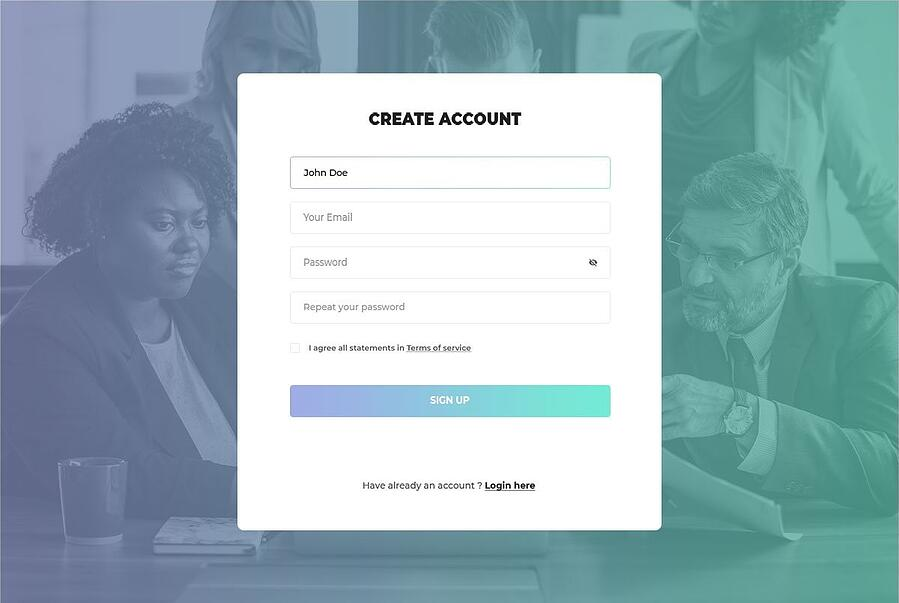 Create Account Page