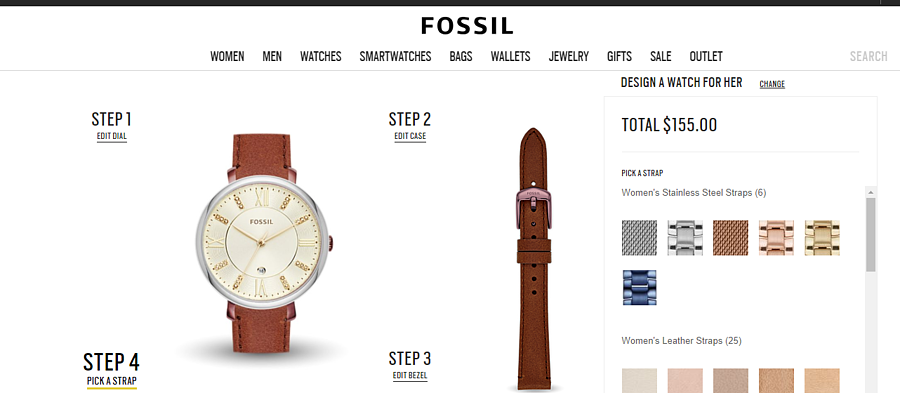 Fossil Customized Product Page