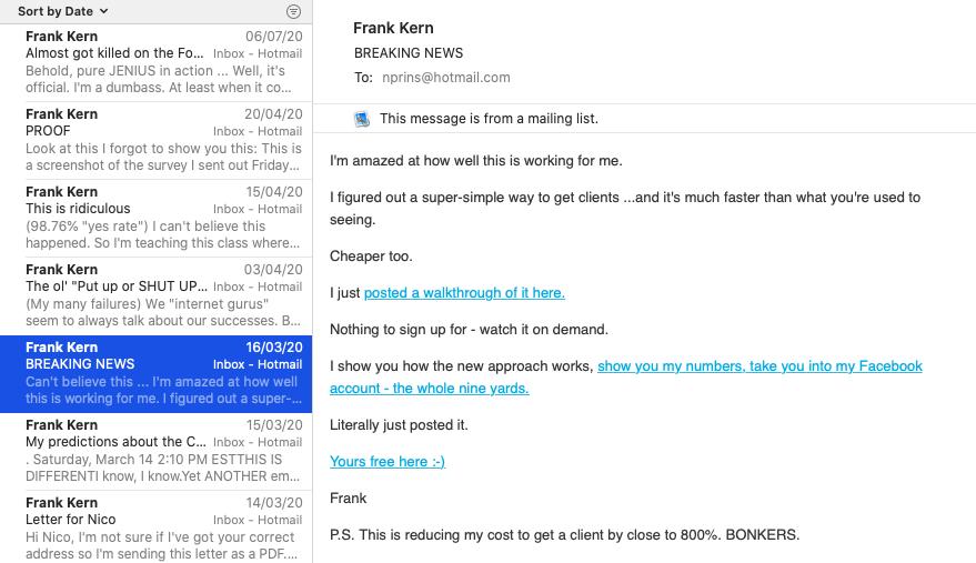 Frank Kern Email