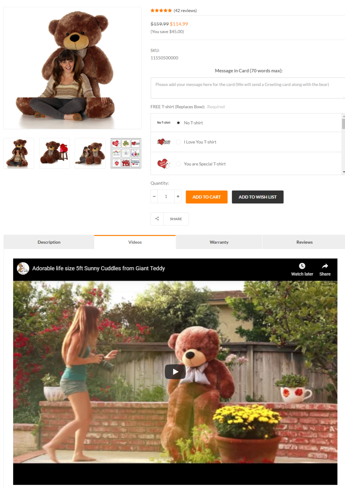 GiantTeddy Product Page