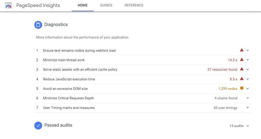 Google PageSpeed Diagnostics