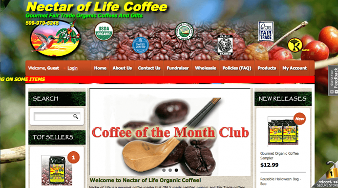 3dcart coffee store-nectar of life