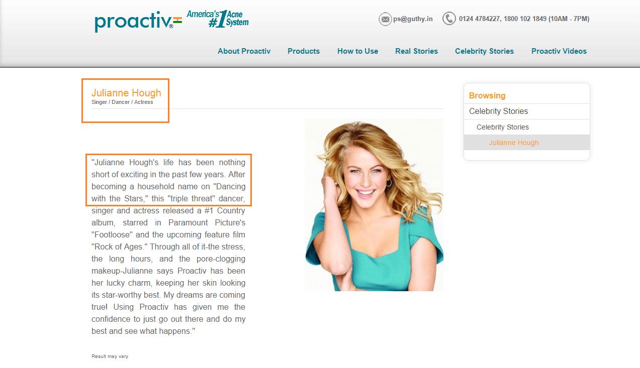 Proactive Celebrity Endorser Julianne Hough