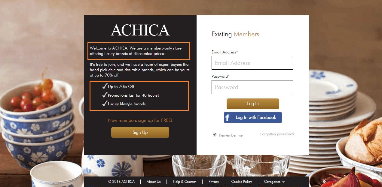Achica Website Screenshot