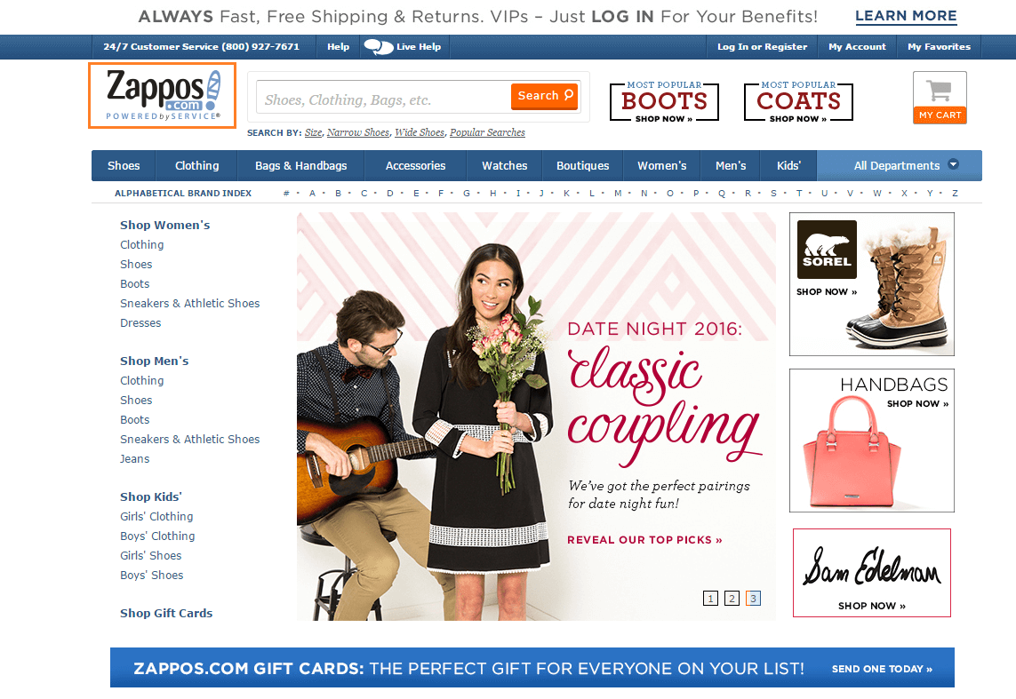 Screenshot of Zappos homepage