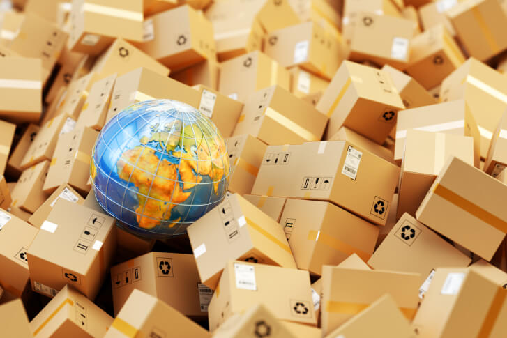 Shipping boxes with globe