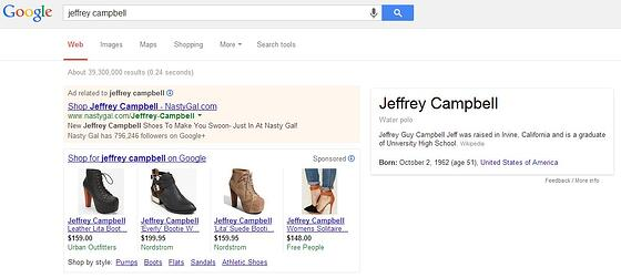 Jeffrey Campbell ecommerce search results