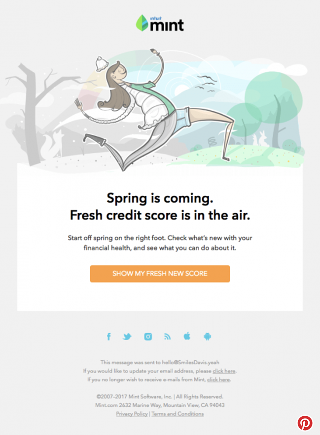 Intuit Mint Credit Score email