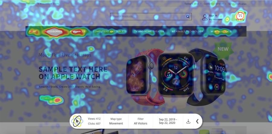Mouseflow live heatmap tool