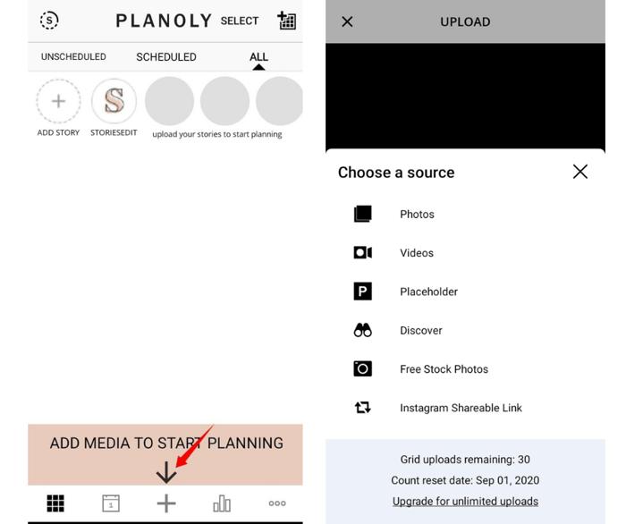 Planoly Upload Media