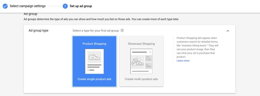 Product Shopping vs. Showcase Shopping ad groups