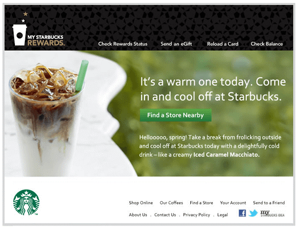 Starbucks Weather Based Upsell Email