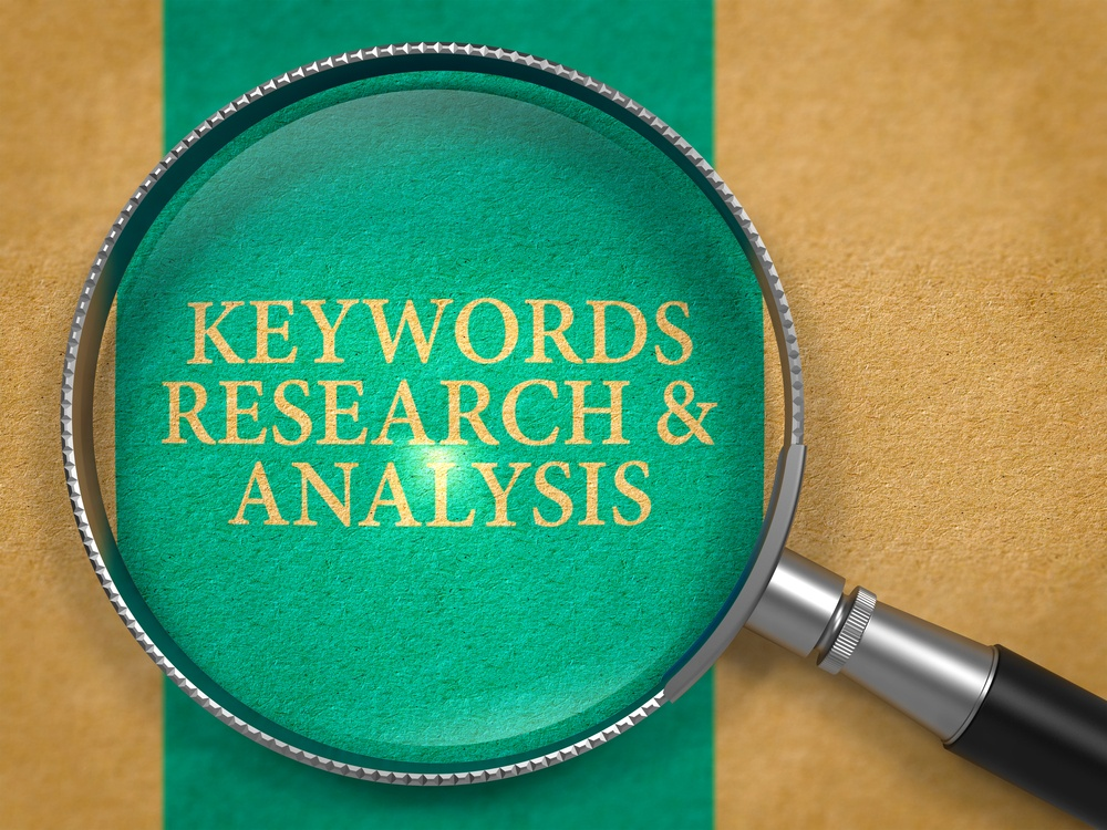 Keywords Research and Analysis through Loupe on Old Paper with Blue Vertical Line Background.-1