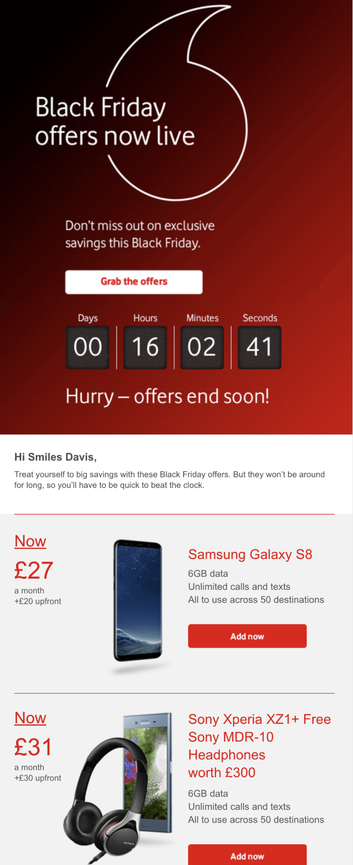 Vodafone Black Friday Email