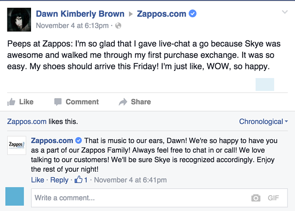 Zappos Facebook Comment