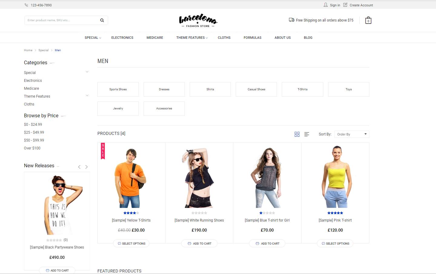 ecommerce website categories