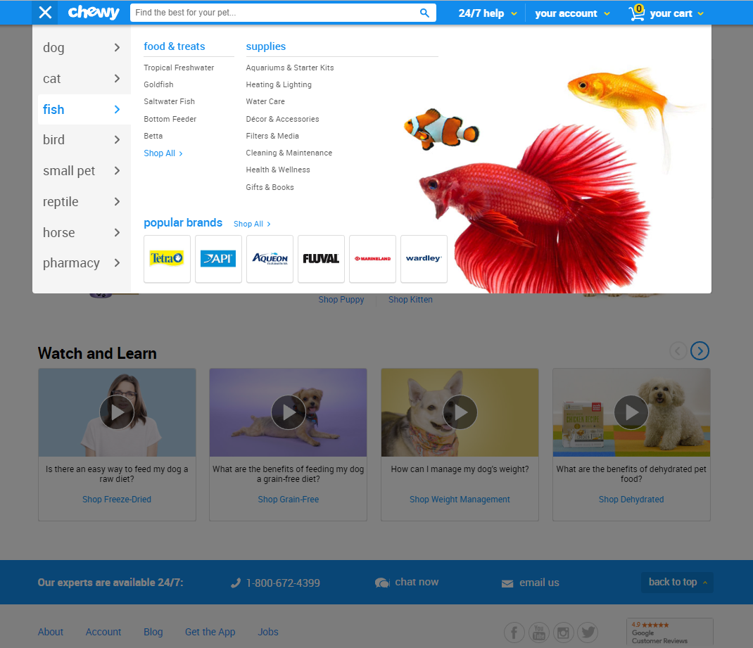 chewy-home-page-menu