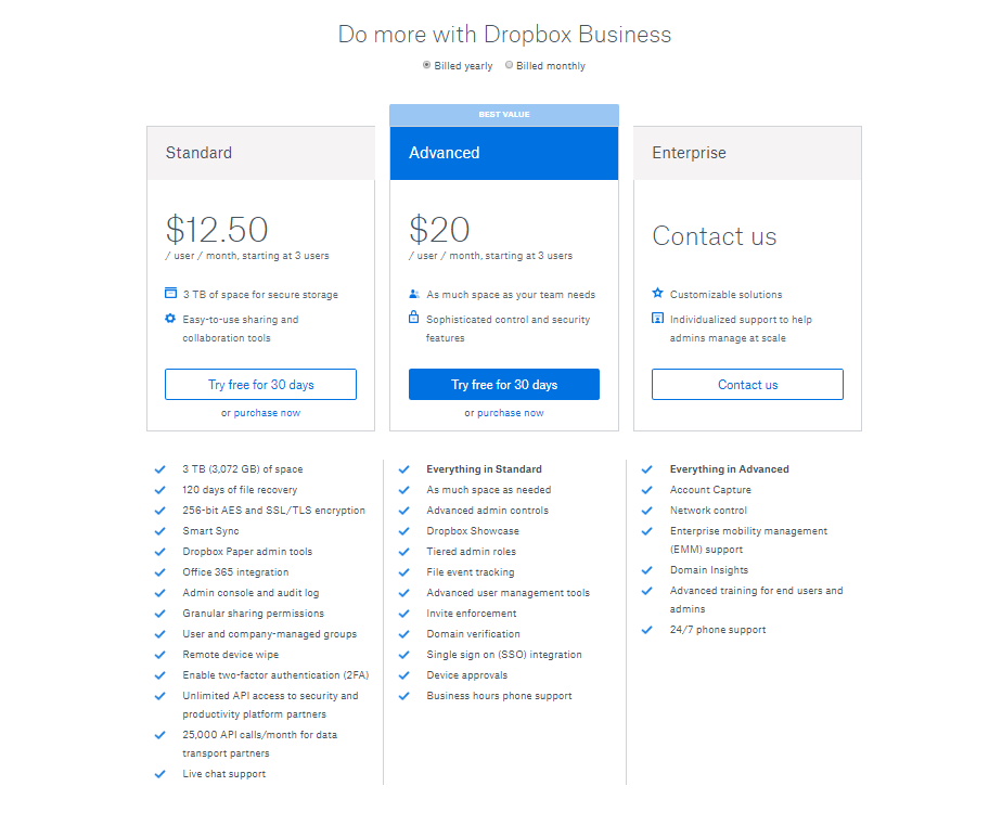 dropbox-pricing-home-page