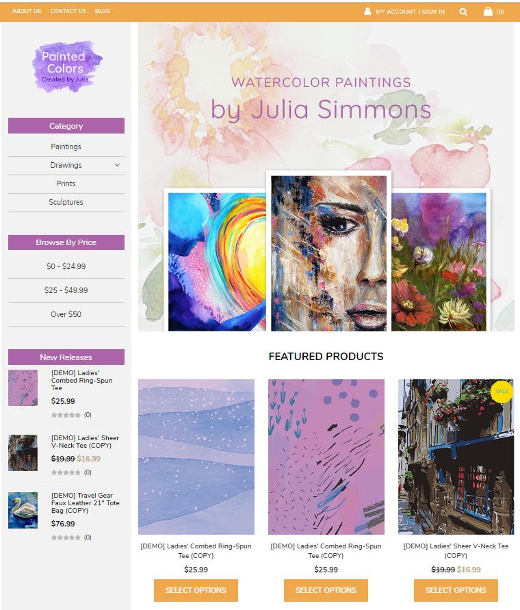 art ecommerce website example