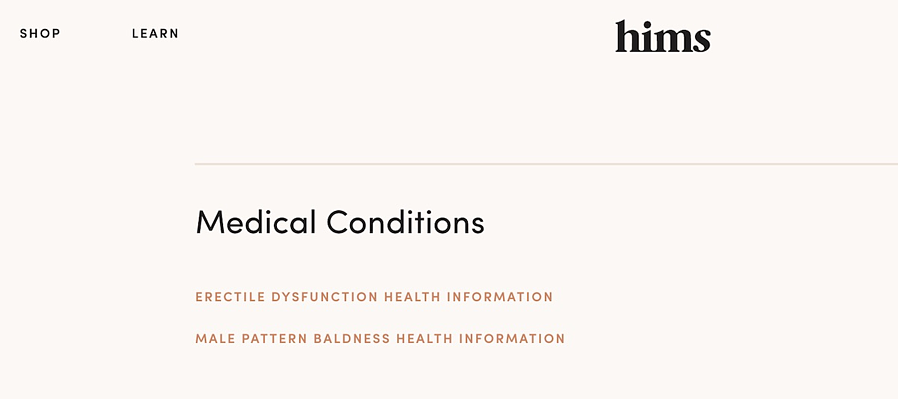 hims medical conditions