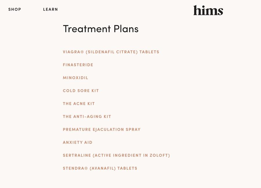 hims treatment plans