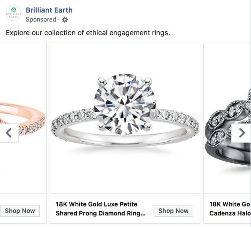 Brilliant Earth Facebook ad