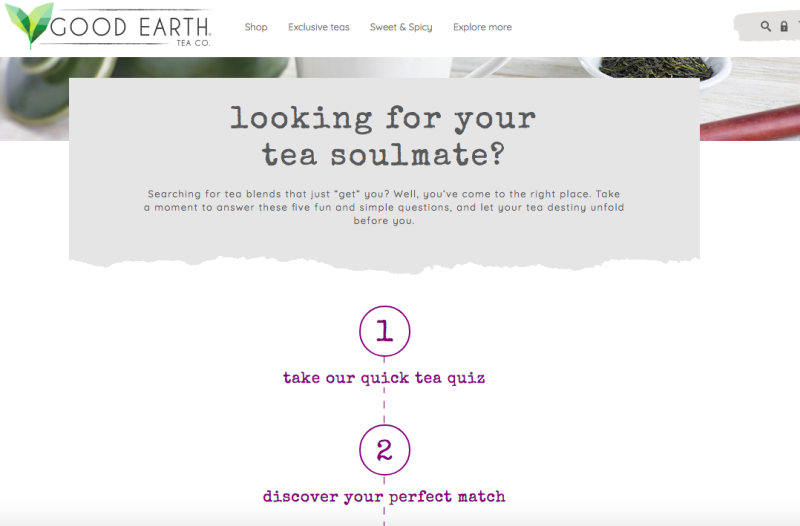 Good Earth Tea product recommendation system