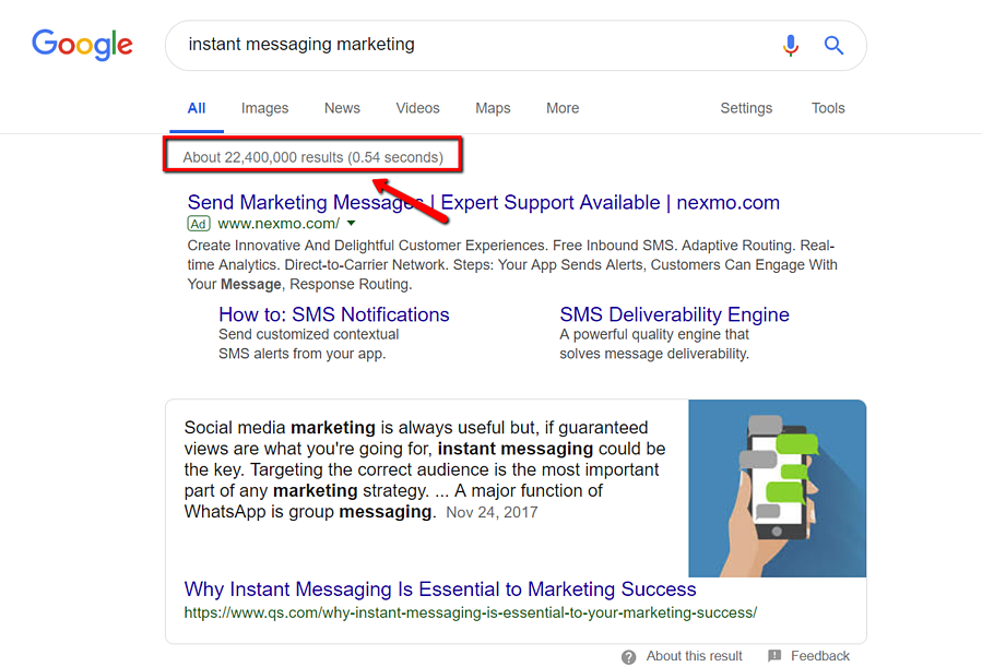instant message marketing google search
