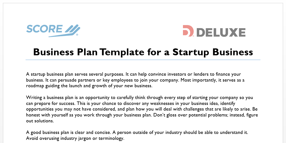 business plan template for startups