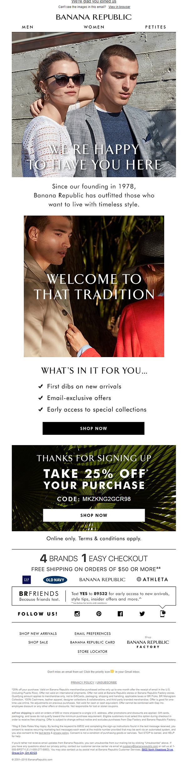 Banana Republic Welcome Email