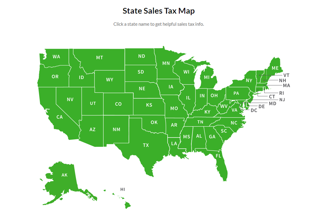 Map of Sales Tax by State