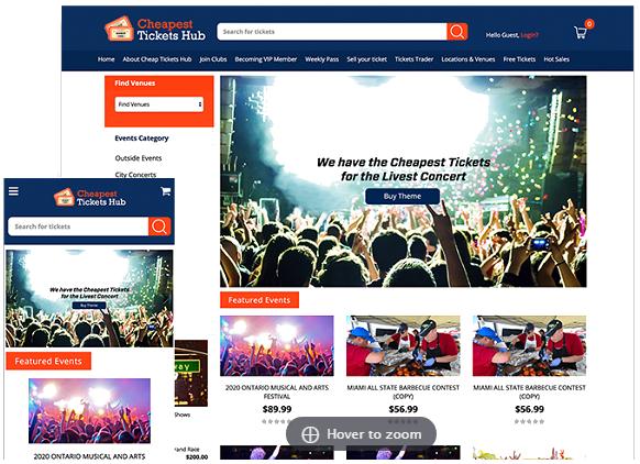 ticket website template