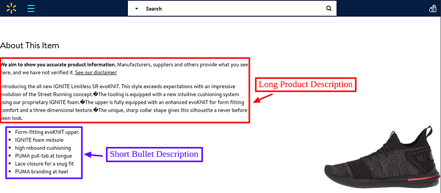 walmart seperated product description