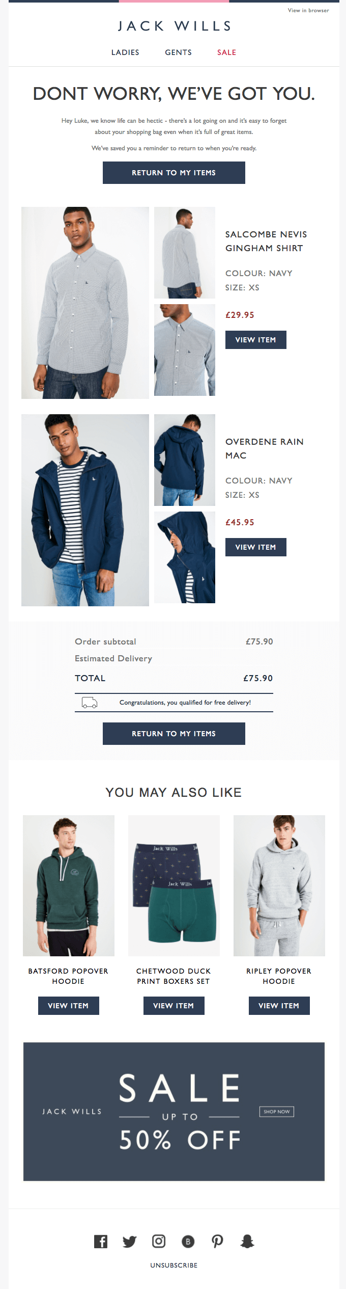 Jack Wills Cart Abandonment Email